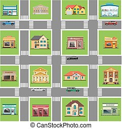 Different shops and homes set.