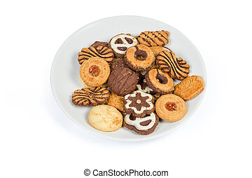 Different shortbread cookies on dish on a white background