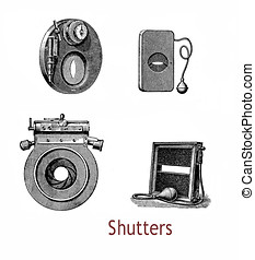 Different shutters for atelier cameras in use at the end of XIX century