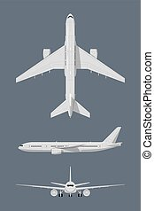 Different sides of modern airplane. Vector illustrations isolate