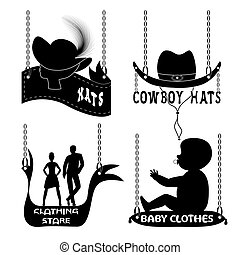 Different signboards of hats and clothes