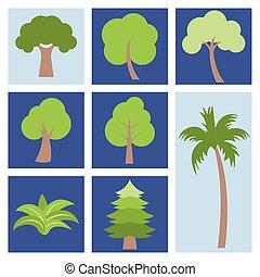 Different simple tree icon, flat design