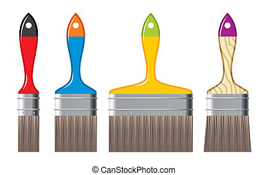 colour brushes - different size of colour brushes - vector ...