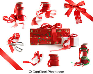 Different sizes of red ribbons and gift wrapped boxes