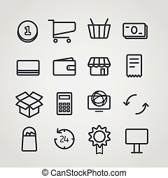 Different slyle of shopping icons vector collection