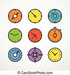 Different slyles of color speedometers vector collection