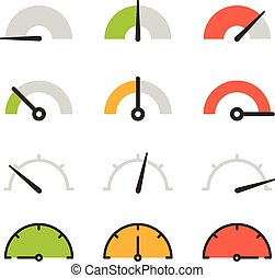 Different slyles of speedometers vector collection. Flat design