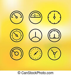 Different slyles of speedometers vector collection on blured background