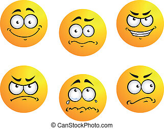 Different smiles expressions and moods for emoticons design