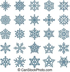 Different snowflake elements set. Design template