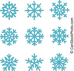 Different snowflakes collection. Vector ice crystal set isolated on white