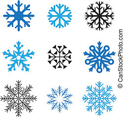 Different simple snowflakes for design on white background