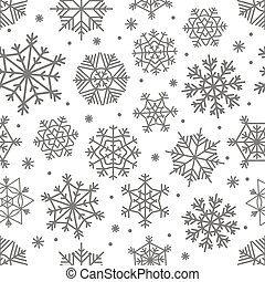 Different snowflakes set. Abstract seamless background