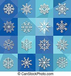 Different snowflakes set. Design elements