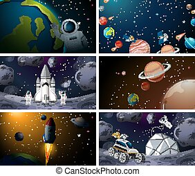 Different solar system scenes illustration