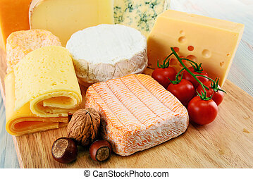 Different sorts of cheese isolated on white background