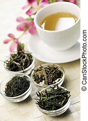 Different sorts of green tea and cup - Different sorts of...