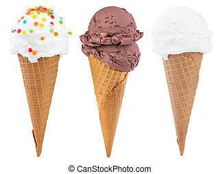 Different sorts of Ice Cream in a waffles cones isolated on white background, with clipping path