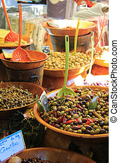 Different sorts of olives on a local French market