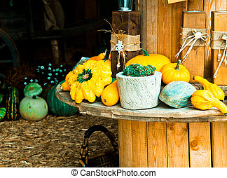 Different Sorts of Pumpkins on a wooden rounded Table for...