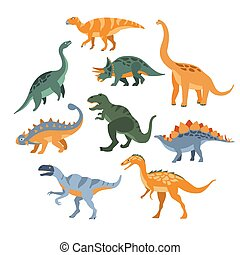 Different Species Of Dinosaurs Set Flat Simplified Cartoon Style Bright Color Vector Illustration On White Background