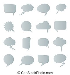 collection of different speech bubbles and thought bubbles with space for text
