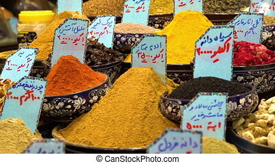 Different spices arranged with tags