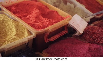 Different spices at local market. Ungraded, close-up...