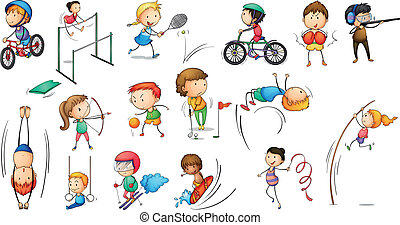 Illustration of the different sports activities on a white background