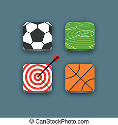 Different sports icons set with rounded corners. Design elements