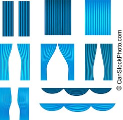 Different stage blue curtains vector collection