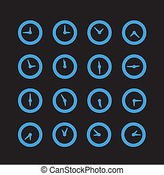 Different status of clocks. Vector collection