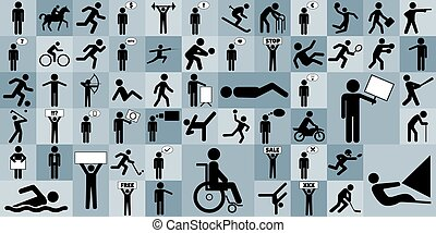 Different stick figures icon set