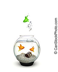 Different - Green fish jumping out of a fishbowl of ordinary...