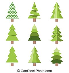 Different style of pine tree icon, flat design