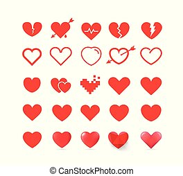 Different style red hearts isolated on white background. Vector cliipart