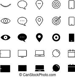 Different style trendy interface vector icons set isolated on white