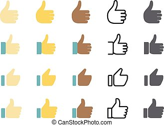 Different style web application icon. Thumbs up vector set