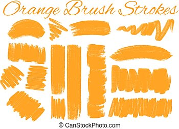Different styles of brush strokes in orange color