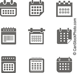 Different styles of calendar web icons collection isolated on white