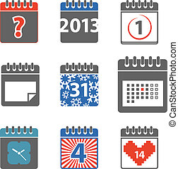 Different styles of color calendar web icons collection