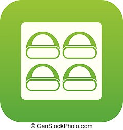 Different sushi icon digital green
