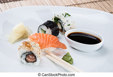 Different Sushi Rolls on a plate