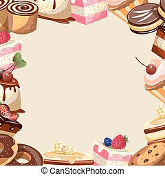 Different sweets colorful background. - Different sweets...