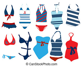 Vector illustration of different swimsuit