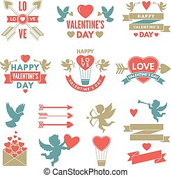 Different symbols and labels for day of st valentine. Love...