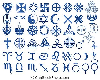 Set of fifty one various vector symbols created by mankind in different periods of history