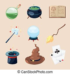 Different symbols of wizards and magicians. Mystery book, magic parchment and wand. Vector icons set in cartoon style