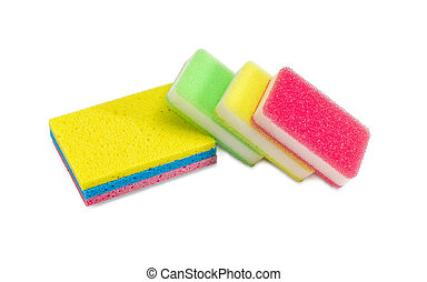 Different synthetic cleaning sponges on a white background