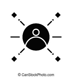 Different tasks black icon, concept illustration, vector flat symbol, glyph sign.
